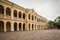 French style colonial style building in Hanoi citadel area (also called Imperial Citadel of Thang Long). Hanoi, Vietnam, Asia.