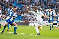 Real Madrid Nacho Fernandez and R.C. Deportivo Guilherme Dos Santos during La Liga match between Real Madrid and R. C. Deportivo at Santiago Bernabeu Stadium in Madrid, Spain. January 18, 2018. (ALTERPHOTOS/Borja B.Hojas)