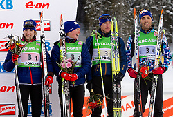 Third placed team of France: Marie Laure Brunet, Marie Dorin, Vincent Jay and Martin Fourcade during flower ceremony after the Mixed 2x6 + 2x7,5km relay of the e.on IBU Biathlon World Cup on Saturday, December 19, 2010 in Pokljuka, Slovenia. The fourth e.on IBU World Cup stage is taking place in Rudno polje - Pokljuka, Slovenia until Sunday December 19, 2010. (Photo By Vid Ponikvar / Sportida.com)