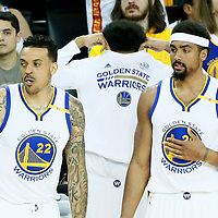 01 June 2017: Golden State Warriors forward Matt Barnes (22) is seen next to Golden State Warriors forward James Michael McAdoo (20)  during the Golden State Warriors 113-90 victory over the Cleveland Cavaliers, in game 1 of the 2017 NBA Finals, at the Oracle Arena, Oakland, California, USA.
