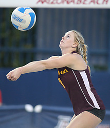 April 6, 2018 - Tucson, AZ, U.S. - TUCSON, AZ - APRIL 06: Arizona State Sun Devils Kate Baldwin (1) hits the ball during a college beach volleyball match between the Arizona State Sun Devils and the Arizona Wildcats on April 06, 2018, at Bear Down Beach in Tucson, AZ. Arizona defeated Arizona State 4-1. (Photo by Jacob Snow/Icon Sportswire (Credit Image: © Jacob Snow/Icon SMI via ZUMA Press)