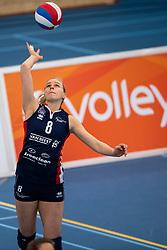 20-01-2019 NED: Talent Team Papendal - Sliedrecht Sport, Ede<br /> Round 15 of Eredivisie volleyball. Sliedrecht Sport win 3-0 (14-25, 14-25, 20-25) of Talent Team / Demi Korevaar #8 of Sliedrecht Sport