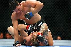 August 9, 2008; Minneapolis, MN, USA;  Middleweights Demian Maia (black trunks) and Jason MacDonald (white trunks) battle during their bout at the Target Center in Minneapolis, MN at UFC 87: Seek and Destroy.  Maia won via rear naked choke in the third round.