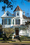 Traditional 19th Century grand mansion house, The Dorsey House, in Natchez, Mississippi, USA