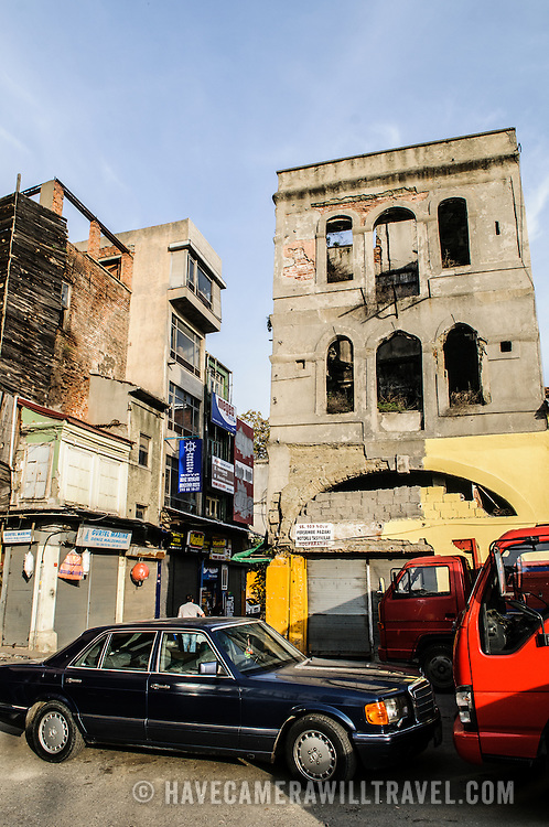 Old buildings on a street in the Beyoglu district of Istanbul, Turkey.