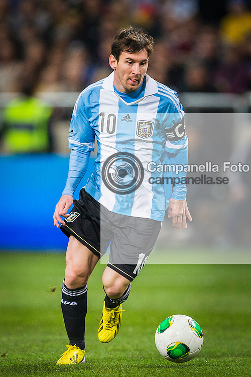 Solna 2013-02-06:<br /> <br /> Argetina 10 Lionel Messi in action against Sweden durring an international friendly played at Friends Arena. <br /> <br /> (Photo: Michael Campanella / Pic-Agency)