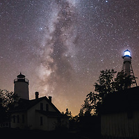 Milky Way rises above the lighthouses of Michigan Island, Wisconsin