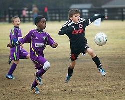 06 December 2014. Cumming Polo Fields, Georgia.<br /> Generation Adidas Norcross Cup.<br /> Jesters Elite U9 Purple team take on United FA 09 Premier, losing 5-0.<br /> Photo; Charlie Varley/varleypix.com