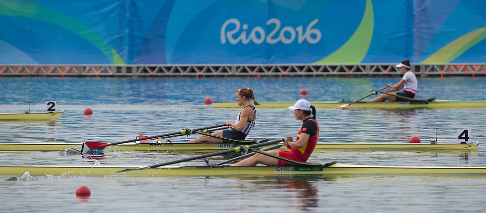 Rio de Janeiro. BRAZIL centre USA W1X, Gevvie STONE, <br /> 2016 Olympic Rowing Regatta. Lagoa Stadium,<br /> Copacabana,  &ldquo;Olympic Summer Games&rdquo;<br /> Rodrigo de Freitas Lagoon, Lagoa. Local Time 10:27:40  Friday  12/08/2016<br /> [Mandatory Credit; Peter SPURRIER/Intersport Images]