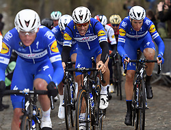 March 23, 2018 - Harelbeke, BELGIUM - Belgian Philippe Gilbert of Quick-Step Floors and Dutch Niki Terpstra of Quick-Step Floors pictured in action during the 61st edition of the 'E3 Prijs Vlaanderen Harelbeke' cycling race, 206,5 km from and to Harelbeke, Friday 23 March 2018. BELGA PHOTO POOL VINCENT KALUT (Credit Image: © Pool Vincent Kalut/Belga via ZUMA Press)