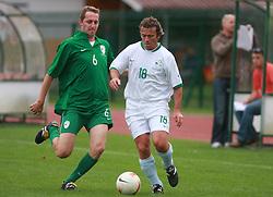 Gregor Zidan (R) and Rok Tamse at friendly football game between famous Slovenians at day of Fair play, on September 21, 2008 in Kodeljevo, Ljubljana, Slovenia. (Photo by Vid Ponikvar / Sportal Images)