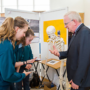 27.04. 2017.          <br /> Pictured at the Limerick Institute of Technology (LIT) SciFest were, Prof. Vincent Cunnane, President LIT with St. Caimins Community School, Shannon Students, Jennifer Smith, Leisha Regan and Eimer Walsh with their project, SOS Save Our Spines. Picture: Alan Place.