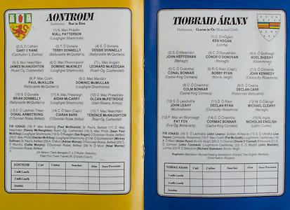 All Ireland Senior Hurling Championship Final,.03.09.1989, 09.03.1989, 3rd September 1989, .Antrim v Tipperary, .03091989AISHCF,.Tipperary 4-24, Antrim 3-9,..Antrim, 1 Niall Patterson, Loughgiel Shamrocks, 2 Gary O'Kane, Cuchullain's Dunloy, 3 Terry Donnelly, Ballycastle McQuillan's, 4 Dessie Donnelly, Ballycastle McQuillans, 5 James McNaughton, Ruairi Og, Cushendall, 6 Dominic McKinley, Loughgiel Shamrocks, 7 Leonard McKeegan, Ruairi Og, Cushendall, 8 Paul McKillen, Ballycastlee McQuillan's, 9 Dominic McMullan, Loughgiel Shamrocks, 10 Brian Donnelly, Ballycastle McQuillan's,  11 Aidan McCarry, Loughgiel Shamrocks, 12 Olcan McFetridge, Glen Rovers, Armoy, 13 Donal Armstrong, O'Donovan Rossa, Belfast, 14 Ciaran Barr, O'Donovan Roassa, Belfast, 15 Terence McNaughton, Ruari Og, Cushendall, subs, 16 Paul McStravick, St Paul's Belfast, 17 Danny McNaughton, Ruairi Og, Cushendall, 18 Sean Paul McKillop,  Loughgiel Shamrocks, 19 Ger Rogan, O'Donovan ROssa, Belfast, 20 Declan McKillop, Loughgiel Shamrocks, 21 Mickey Sullivan, St Pauls Belfast, 22 Adrian Murray, O'Donovan Rossa, Belfast, 23 Collie Murphy, O'Donovan Rossa, Belfast, 24 Noel Murray, O'Donovan Rossa, Belfast, ..Tipperary, 1 Ken Hogan, Lorrha, 2 John Heffernan, Nenagh, 3 Conor O'Donovan, Nenagh, 4 Noel Sheehy, Silvermines, 5 Conal Bonnar, Cashel King Cormacs, 6 Bobby Ryan, Borris Ileigh, 7 John Kennedy, Clonoulty Rossmore, 8 Colm Bonnar, Cashel King Cormacs, 9 Declan Carr, Holycorss Ballycahill, 10 John Leahy, Mullinahone, 11 Declan Ryan, Clonoulty Rossmore, 12 Michael Cleary, Nenagh, 13 Pat Fox, Eire Og Annacarty, 14 Cormac Bonnar, Cashel King Cormacs, 15 Nicholas English, Lattin Cullen, subs John Leamy, Golden Kilfeacle, Joe Hayes, Clonoulty Rossmore, 18 Pat McGrath, Loughmore Castleiney, 19 AIdan Ryan, Borris Illeigh, 20 Donie O'Connell, 21 John Cormack, Loughmore Castleiney, 22 John Madden, Lorrha, 23 Richard Stakelum,