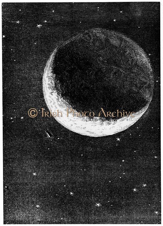 Space capsule dwarfed by the disc of the Moon. From Jules Verne 'Autour de la Lune', Paris, 1865. Wood engraving.