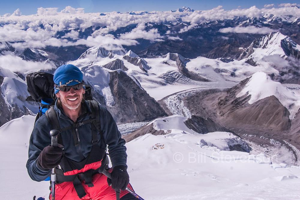 A Man Climbing on a Mountain the Himalaya