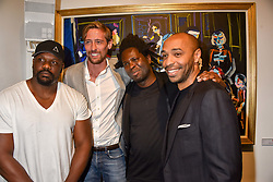Left to right, Dereck Chisora, Peter Crouch, Bradley Theodore and Thierry Henry at a private view of work by Bradley Theodore entitled 'The Second Coming' at the Maddox Gallery, 9 Maddox Street, London England. 19 April 2017.
