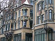historische Gebäude in der Einkaufsstraße Angerstraße, Schnee, Winter, Erfurt, Thüringen, Deutschland.|.pedestrian mall Angerstraße, snow, winter, Erfurt, Thuringia, Germany