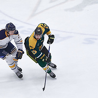 3rd year forward, Tristan Frei (13) of the Regina Cougars during the Men's Hockey Home Game on Fri Oct 12 at Co-operators Center. Credit: Arthur Ward/Arthur Images