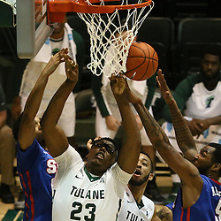 Jan 17, 2016; New Orleans, LA, USA; Tulane Green Wave forward Blake Paul (23) has a shot blocked by Southern Methodist Mustangs forward Markus Kennedy (5) during the second half of a game at the Devlin Fieldhouse. Southern Methodist defeated Tulane 60-45. Mandatory Credit: Derick E. Hingle-USA TODAY Sports
