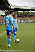 FLORIAN THAUVIN (OLYMPIQUE DE MARSEILLE) and Maxime Lopez (Olympique de Marseille) during the French championship L1 football match between Rennes v Lyon, on August 11, 2017 at Roazhon Park stadium in Rennes, France - Photo Stephane Allaman / ProSportsImages / DPPI