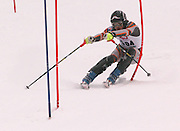 Second overall in the boys slalom individual competition, Ben Tolzdorf of Harbor Springs makes his first of two slalom runs at Boyne Highlands Resort in Harbor Springs at the Division 2 State Ski Finals.