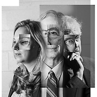 Cover image for University of MD School of Medicine Bulletin Cover. Issue on Schizophrenia. Photographic illustration using portraits of three doctors.