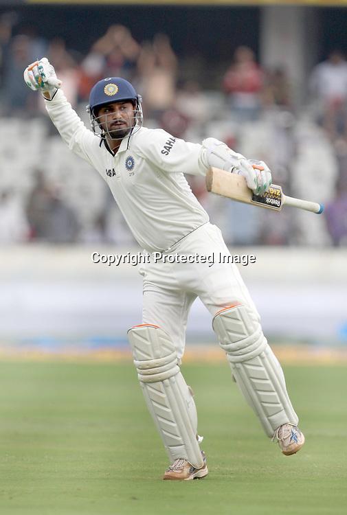 Indian batsman Harbhajan Singh celebrates 2nd test century against New Zealand during the 2nd test match Indian vs New Zealand day-4 Played at Rajiv Gandhi International Stadium, Uppal, Hyderabad, 15 November 2010 (5-day match)