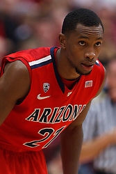 Feb 4, 2012; Stanford CA, USA; Arizona Wildcats guard Kyle Fogg (21) before a free throw against the Stanford Cardinal during the first half at Maples Pavilion.  Arizona defeated Stanford 56-43. Mandatory Credit: Jason O. Watson-US PRESSWIRE