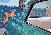 Image of a Cadillac Convertible rear section in Costa Mesa, California, American west coast, property released