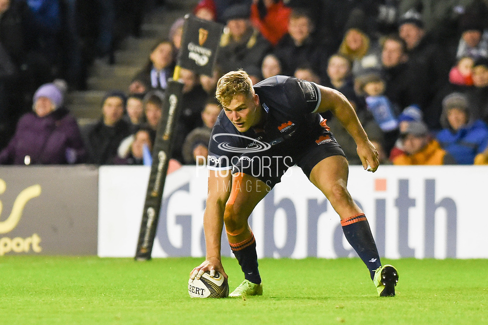 Man of the match Duhan van der Merwe scored two breakaway tries during the 1872 Challenge Cup, Guinness Pro 14 2018_19 match between Edinburgh Rugby and Glasgow Warriors at BT Murrayfield Stadium, Edinburgh, Scotland on 22 December 2018.
