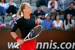May 18, 2018 - Rome, Rome, Italy - 18th May 2018, Foro Italico, Rome, Italy; Italian Open Tennis; Anett Kontaveit (EST) celebrates after winning 6-1, 6-1 her quarter-final against Caroline Wozniacki (DEN). Credit: Giampiero Sposito/Pacific Press (Credit Image: © Giampiero Sposito/Pacific Press via ZUMA Wire)