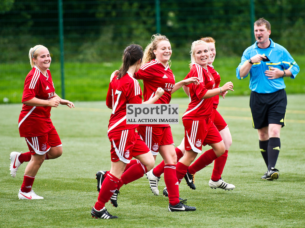 Hannah Clews celebrates her second and Aberdeen's third and match winning goal. Hutchison Vale welcomed Aberdeen to the Astroturf pitch at Saughton Park, Edinburgh, 24 June 2012.  (Ger Harley | STOCKPIX)