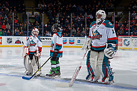 KELOWNA, CANADA - JANUARY 3: Pespi players of the game line up beside James Porter #1 of the Kelowna Rockets against the Tri-City Americans on January 3, 2017 at Prospera Place in Kelowna, British Columbia, Canada.  (Photo by Marissa Baecker/Shoot the Breeze)  *** Local Caption ***