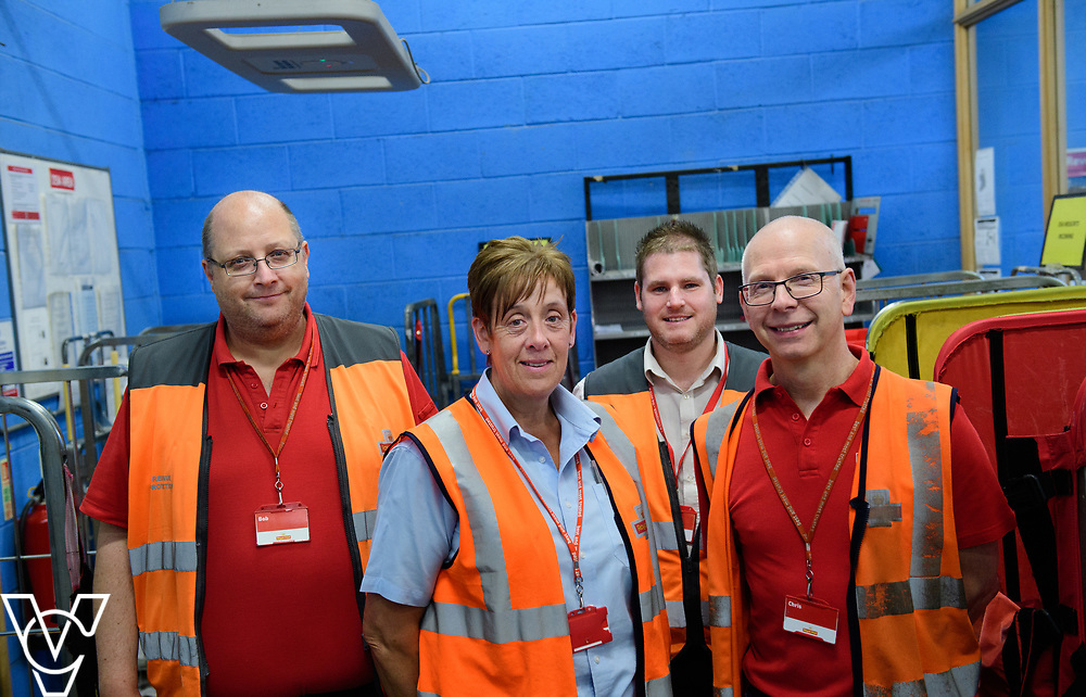 Royal Mail North West Midlands Mail Centre, Wolverhampton.  Generic / stock photograph.  Pictured are members of the revenue protection team, from left, Robert Collins, Jill Belcher, manager Chris Casey and Chris Watson.<br /> <br /> Picture: Chris Vaughan Photography<br /> Date: June 23, 2017