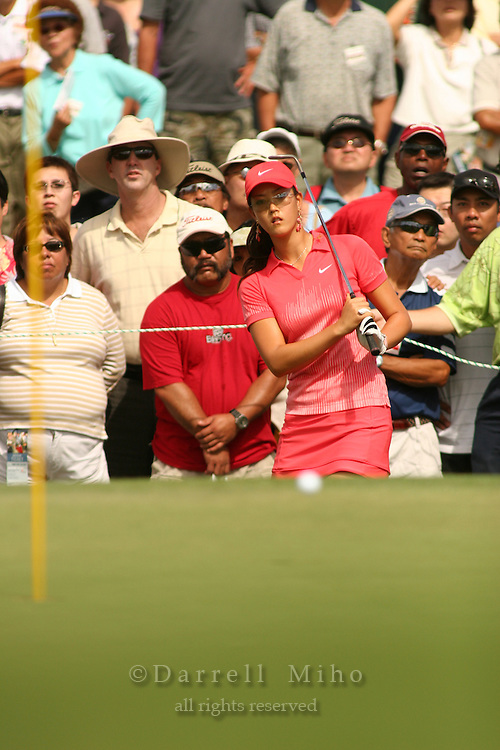 Feb 25, 2006; Kapolei, HI, USA; Michelle Wie pitches on to the green during the final round at the inaugural LPGA Fields Open at Ko Olina Resort. ..Photo Credit: Darrell Miho .Copyright © 2006 Darrell Miho