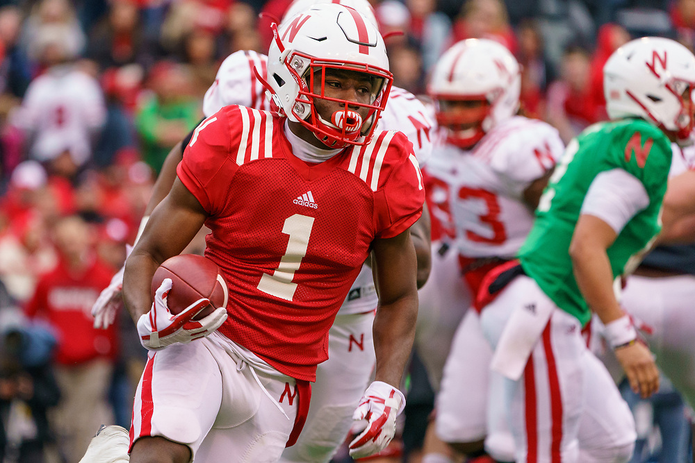 Tyjon Lindsey #1 carries the ball during Nebraska's annual Spring Game at Memorial Stadium in Lincoln, Neb., on April 21, 2018. © Aaron Babcock