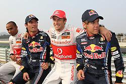 Motorsports / Formula 1: World Championship 2010, GP of Korea, 02 Lewis Hamilton (GBR, Vodafone McLaren Mercedes), 06 Mark Webber (AUS, Red Bull Racing),   01 Jenson Button (GBR, Vodafone McLaren Mercedes), 05 Sebastian Vettel (GER, Red Bull Racing),