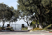 Doors are locked in front of the gated community Mulholland Estates, where Paris Hilton used to own a house that was robbed by the Bling Ring on various occasions from October 2008.