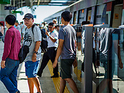 06 DECEMBER 2018 - SAMUT PRAKAN, THAILAND:  The 12.6 kilometer (7.8 miles) east extension of the Sukhumvit Line of the Bangkok BTS Skytrain opened today. The system is now 51 kilometers long (32 miles), including the 12.6 kilometer extension that opened 06 December. About 900,000 people per day use the BTS.       PHOTO BY JACK KURTZ
