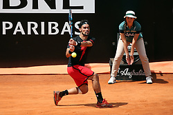 May 18, 2018 - Rome, Rome, Italy - 18th May 2018, Foro Italico, Rome, Italy; Italian Open Tennis; Fabio Fognini (ITA) in action during a quarter-final match lost 4-6, 6-1, 6-2 against Rafael Nadal (ESP). Credit: Giampiero Sposito/Pacific Press (Credit Image: © Giampiero Sposito/Pacific Press via ZUMA Wire)