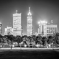 Indianapolis skyline at night black and white picture with Indianapolis city office buildings and skyscrapers.