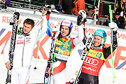 05.03.2011 - Kranjska Gora, Slovenia - Winner is JANKA Carlo (SUI) in front of PINTURAULT Alexis (FRA) and third LIGETY Ted (USA). Giant slalom for men on 50th Pokal Vitranc AUDI FIS Alpine skiing world cup Slovenia on Sunday, 5th of March 2011. Photo: Saso Domijan