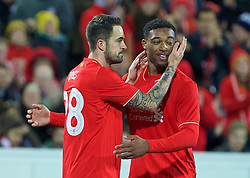 ADELAIDE, AUSTRALIA - Monday, July 20, 2015: Liverpool's Danny Ings celebrates scoring the first goal against Adelaide United with team-mate Jordon Ibe during a preseason friendly match at the Adelaide Oval on day eight of the club's preseason tour. (Pic by David Rawcliffe/Propaganda)