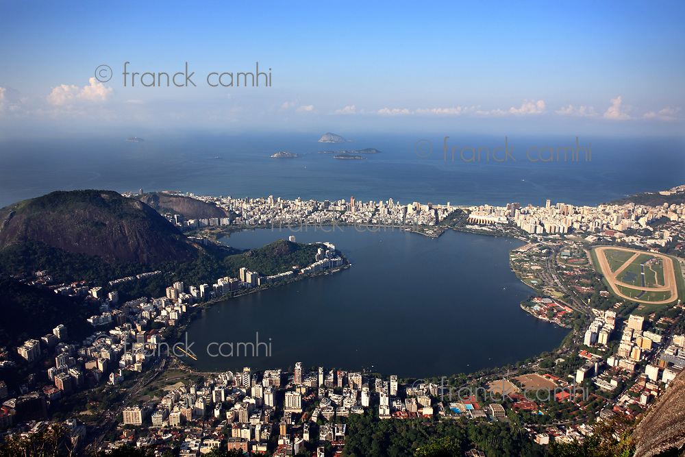 aerial view of lagoa in rio de janeiro brazil