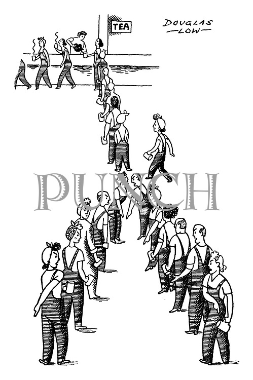 (Female and male factory workers queuing for tea with two having an argument)