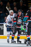 KELOWNA, CANADA - NOVEMBER 1: Garrett Pilon #41 of the Kamloops Blazers gets in the face of Kole Lind #16 of the Kelowna Rockets on November 1, 2016 at Prospera Place in Kelowna, British Columbia, Canada.  (Photo by Marissa Baecker/Shoot the Breeze)  *** Local Caption ***