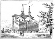 Crematorium in the Pere la Chaise cemetery, Paris, France  Engraving published March 1888 while the building was under construction.