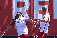 SO Poland athletes (R) Radoslaw Juszkiewicz and (L) Aneta Patoka compete at athletics relay 4 x 100 meters during eighth day of the Special Olympics World Games Los Angeles 2015 on August 1, 2015 at Loker Stadium on USC (University of Southern California) in Los Angeles, USA.<br /> USA, Los Angeles, August 1, 2015<br /> <br /> Picture also available in RAW (NEF) or TIFF format on special request.<br /> <br /> For editorial use only. Any commercial or promotional use requires permission.<br /> <br /> Adam Nurkiewicz declares that he has no rights to the image of people at the photographs of his authorship.<br /> <br /> Mandatory credit:<br /> Photo by © Adam Nurkiewicz / Mediasport