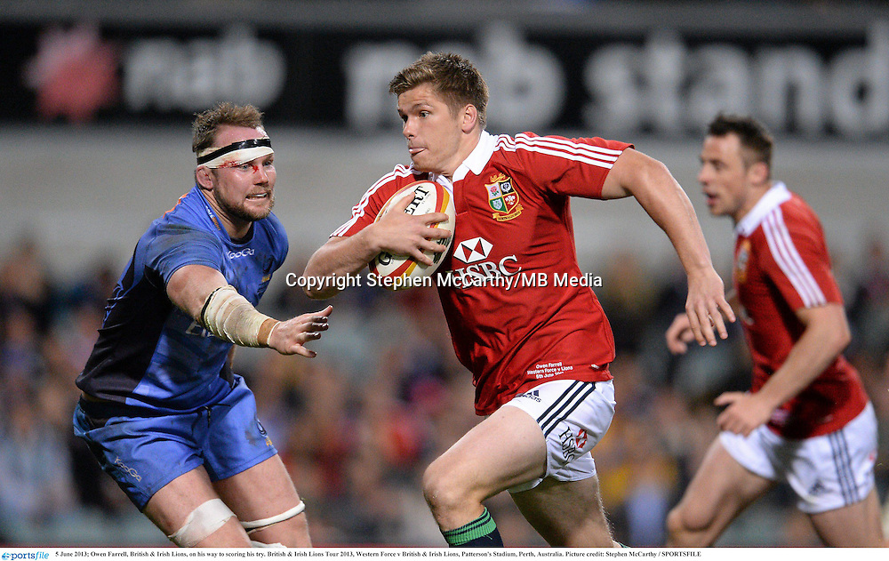 5 June 2013; Owen Farrell, British & Irish Lions, on his way to scoring his try. British & Irish Lions Tour 2013, Western Force v British & Irish Lions, Patterson's Stadium, Perth, Australia. Picture credit: Stephen McCarthy / SPORTSFILE