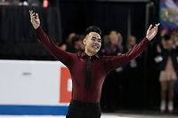 KELOWNA, BC - OCTOBER 26: Men's silver medalist Nam Nguyen of Canada skates onto the ice during medal ceremonies of Skate Canada International held at Prospera Place on October 26, 2019 in Kelowna, Canada. (Photo by Marissa Baecker/Shoot the Breeze)